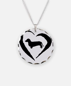 Wiener2 Heart Necklace Circle Charm