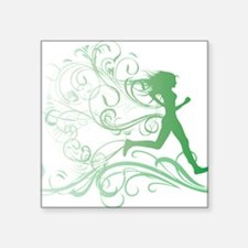 "green_runner_girl Square Sticker 3"" x 3"""