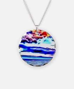 dramatic evening colorful painting Necklace