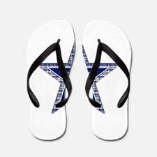Blue and Silver Plaid Flip Flops