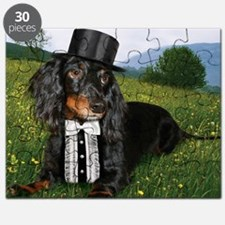 long hair black dox16x16 Puzzle