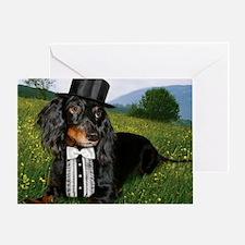 long hair black dox16x16 Greeting Card