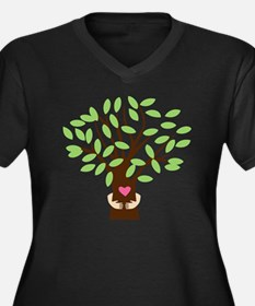 Tree Hugger Women's Plus Size Dark V-Neck T-Shirt