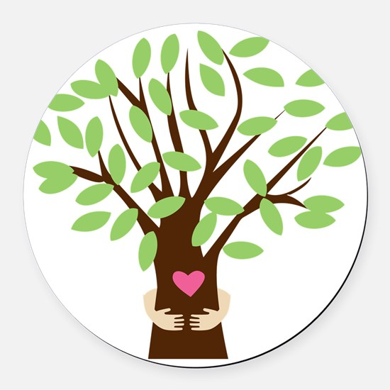 Tree Hugger Round Car Magnet