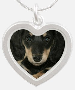 long hair black doxie 16x16 Silver Heart Necklace