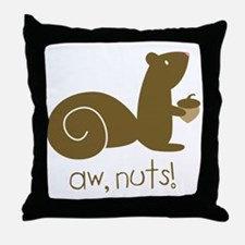 Aw Nuts Squirrel Throw Pillow