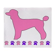 Poodle Paws Pink Throw Blanket