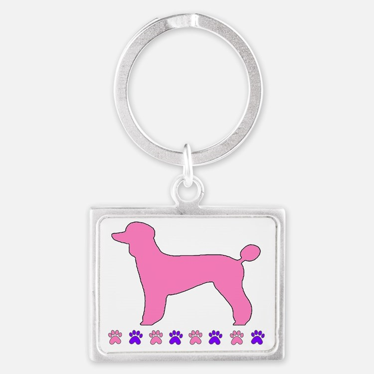 Poodle Paws Pink Landscape Keychain