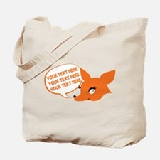 CUSTOM TEXT Cute Fox Tote Bag