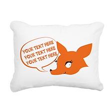 CUSTOM TEXT Cute Fox Rectangular Canvas Pillow