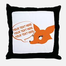 CUSTOM TEXT Cute Fox Throw Pillow