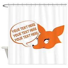 CUSTOM TEXT Cute Fox Shower Curtain