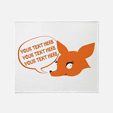 CUSTOM TEXT Cute Fox Throw Blanket