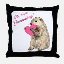Groundhog-BeMine-Pink-Heart-03 Throw Pillow