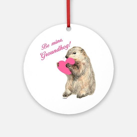 Groundhog-BeMine-Pink-Heart-03 Round Ornament