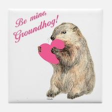 Groundhog-BeMine-Pink-Heart-03 Tile Coaster