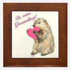 Groundhog-BeMine-Pink-Heart-03 Framed Tile