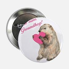 """Groundhog-BeMine-Pink-Heart-03 2.25"""" Button"""