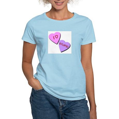 I Heart Stupid Women's Pink T-Shirt