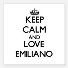 """Keep Calm and Love Emiliano Square Car Magnet 3"""" x"""