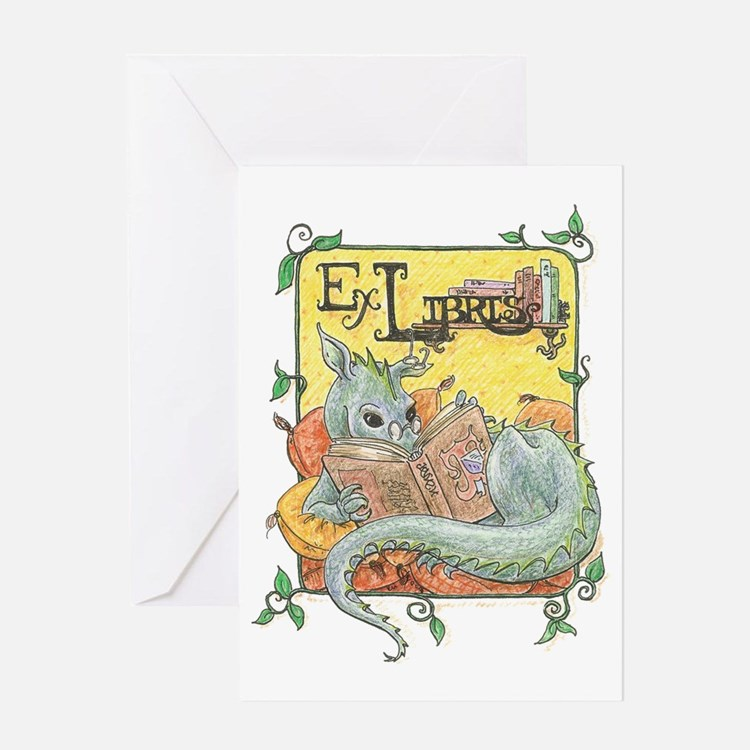 Dragon Reader (ex Libris) Greeting Card