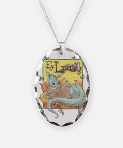 Dragon Reader (ex Libris) Necklace Oval Charm