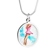 3-jump Silver Round Necklace