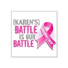 "Personalized Breast Cancer Square Sticker 3"" x 3"""