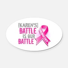 Personalized Breast Cancer Oval Car Magnet