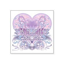 "Twilight Mom Fancy Heart Square Sticker 3"" x 3"""