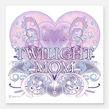 "Twilight Mom Fancy Heart Square Car Magnet 3"" x 3"""