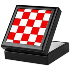 White and Red Checker Board Keepsake Box
