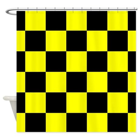 black and yellow checker board shower curtain by verycute. Black Bedroom Furniture Sets. Home Design Ideas