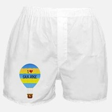 I Love San Jose text on blue-and-yell Boxer Shorts