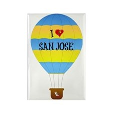 I Love San Jose text on blue-and- Rectangle Magnet