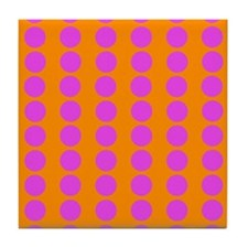Orange And Pink Polka Dot Pattern Tile Coaster