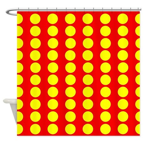 Red And Yellow Polka Dot Pattern Shower Curtain By Verycute