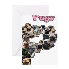 2-Pug Mosaic Greeting Card