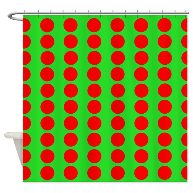 Green And Red Polka Dot Pattern Shower Curtain by VeryCute