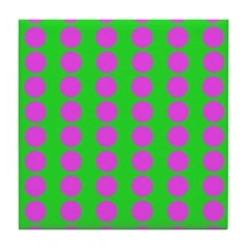 Green And Pink Polka Dot Pattern Tile Coaster
