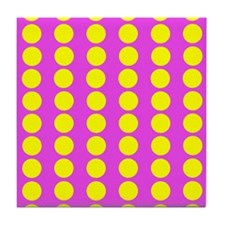 Pink And Yellow Polka Dot Pattern Tile Coaster