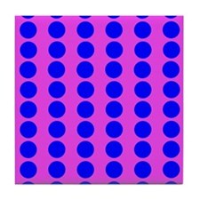 Pink And Blue Polka Dot Pattern Tile Coaster
