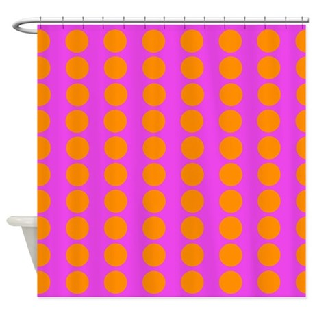 Pink And Orange Polka Dot Pattern Shower Curtain by VeryCute