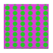 Pink And Green Polka Dot Pattern Tile Coaster