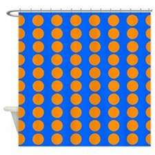 Blue And Orange Polka Dot Pattern Shower Curtain