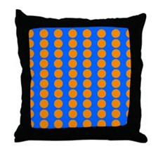Blue And Orange Polka Dot Pattern Throw Pillow