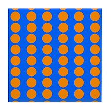 Blue And Orange Polka Dot Pattern Tile Coaster