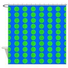 Blue And Green Polka Dot Pattern Shower Curtain