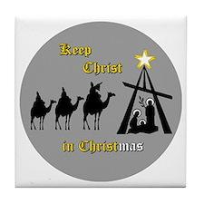 Keep Christ in Christ-mas Tile Coaster