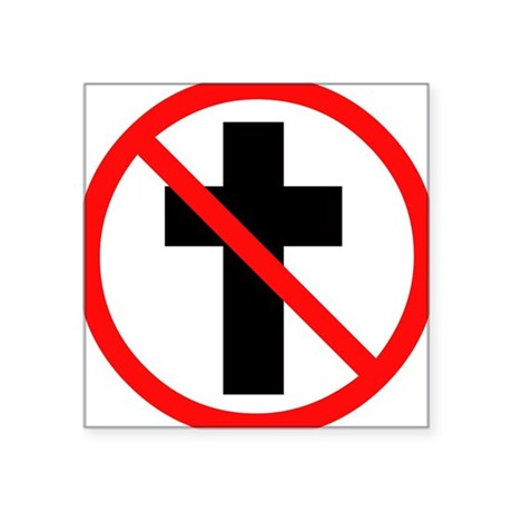 No Christianity Rectangle Sticker